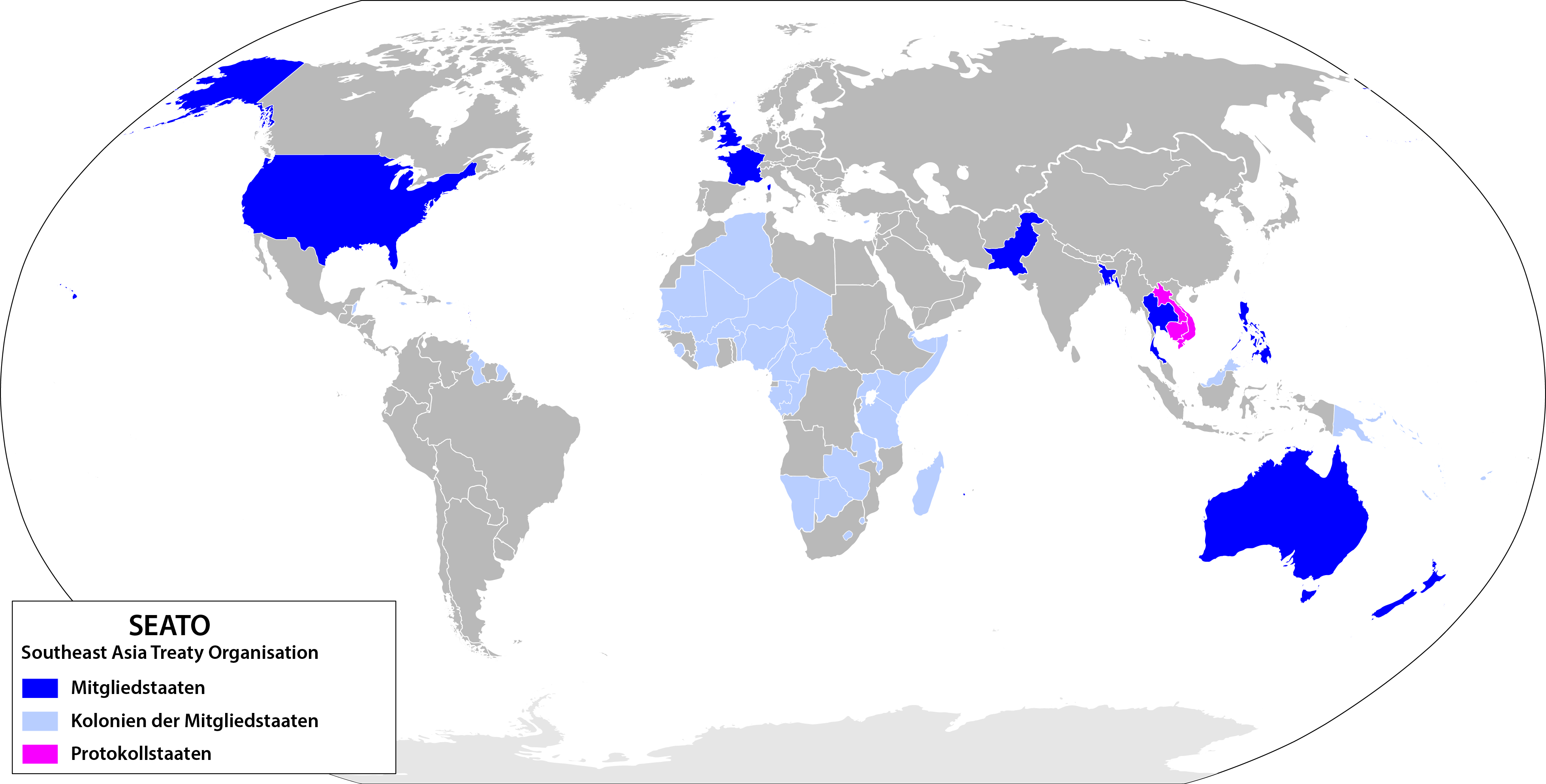 Map of SEATO member countries - de