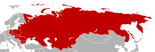 Map of Warsaw Pact countries